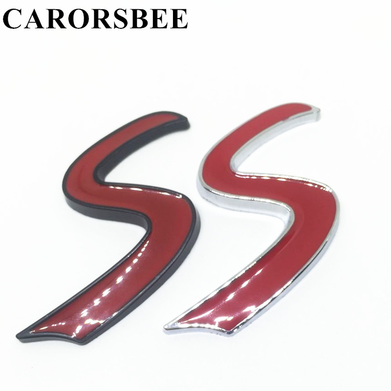 Carorsbee Chrome Metal Red Black S Car Sticker Auto Tail S Letter