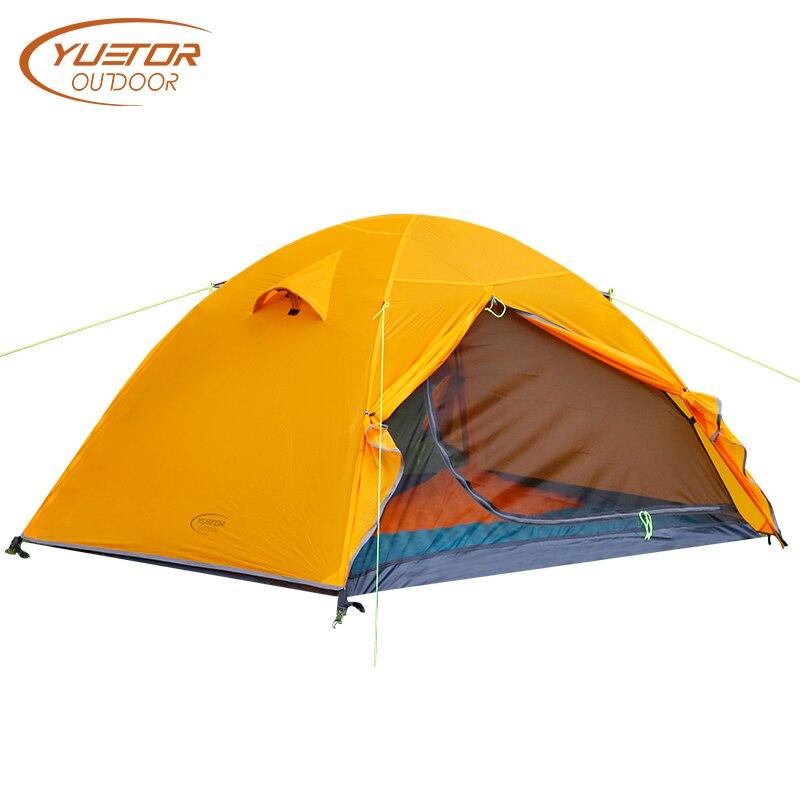 YUETOR extérieur ultra-léger Camping tentes 20D Silicone 2 personnes 4 saisons tente maille intérieure Double couche imperméable randonnée tente