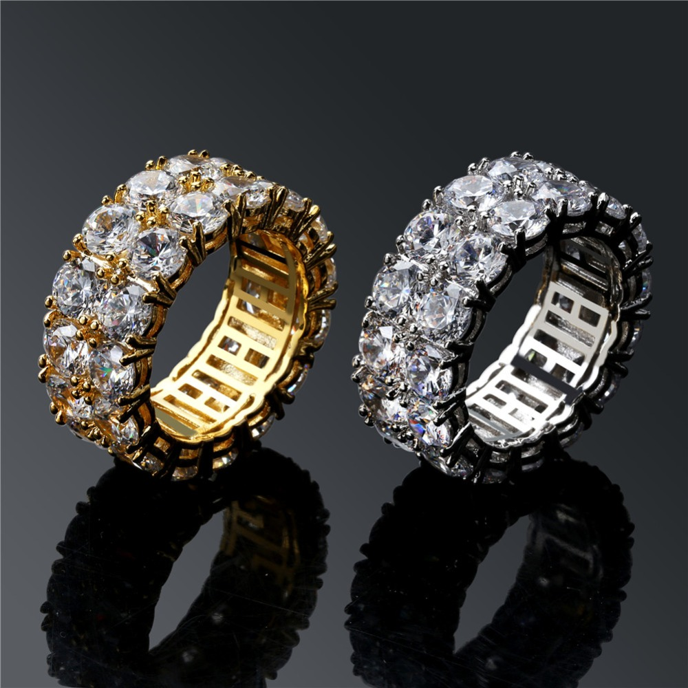 Closeout DealsSolitaire-Ring Jewelry Ring-Band Iced-Out Gold/silver-Color Men/women Charm Classic Round