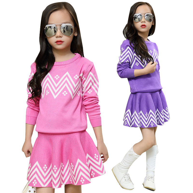 Kids Clothing Sets For Girls Striped Sweaters & Skirts 2Pcs 2017 Autumn Winter Kids Outfits Warm Kids Tops For Girls Knitwear