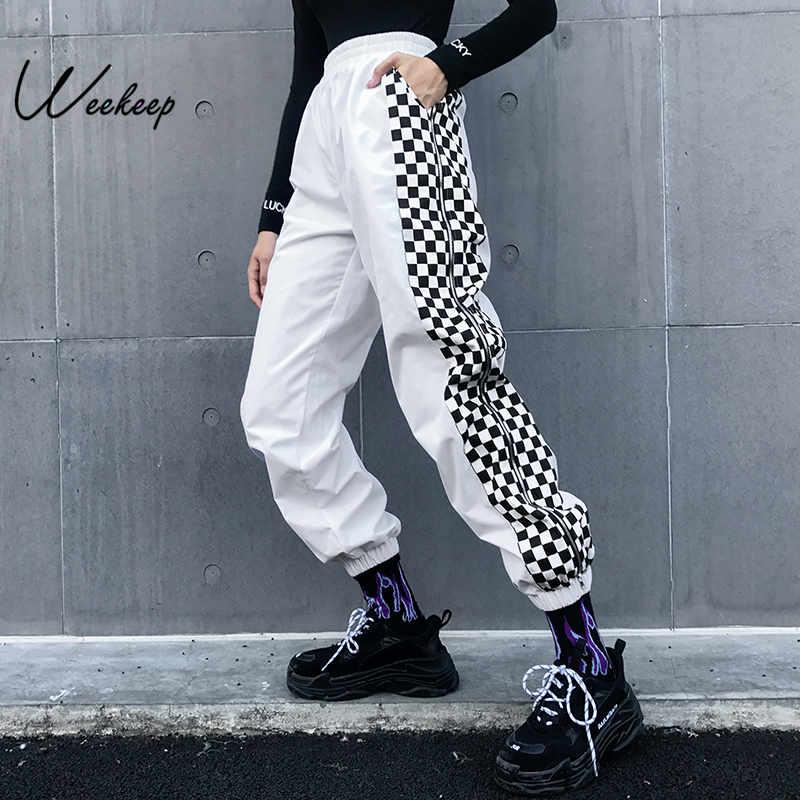 Weekeep Women White High Waist Checkerboard Pants Fashion Streetwear Plaid Patchwork Trousers Women Elastic Waist Pencil Pants