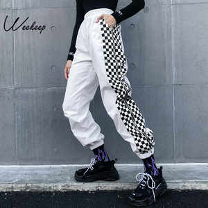 Image 1 - Weekeep pantalones de cuadros de cintura alta para mujer, ropa de calle de moda, pantalones de retazos a cuadros, pantalones de pitillo con cintura elástica