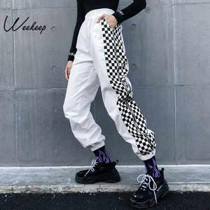 Image 1 - Женские брюки Weekeep с завышенной талией, белые клетчатые брюки карандаш в стиле пэчворк, в уличном стиле, с эластичным поясом