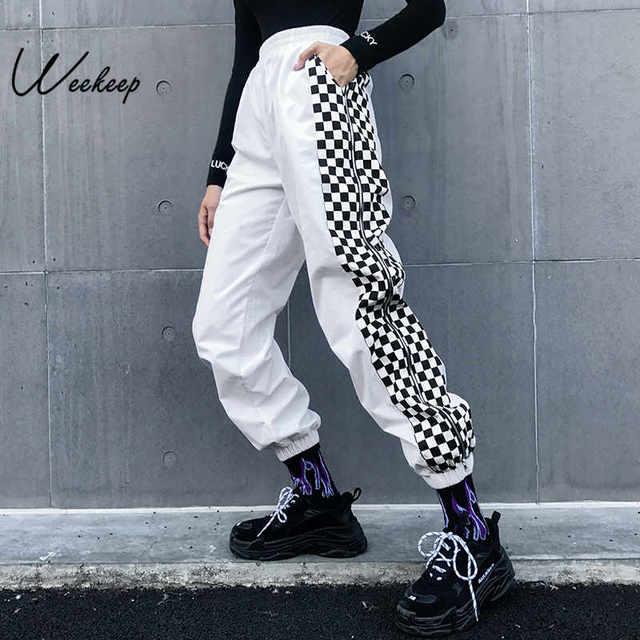 Женские брюки Weekeep с завышенной талией, белые клетчатые брюки карандаш в стиле пэчворк, в уличном стиле, с эластичным поясом