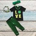 Meninas do bebê outfits meninas do St Patrick Shamrock top lantejoulas verdes calças boutique conjuntos de manga curta roupas com os acessórios