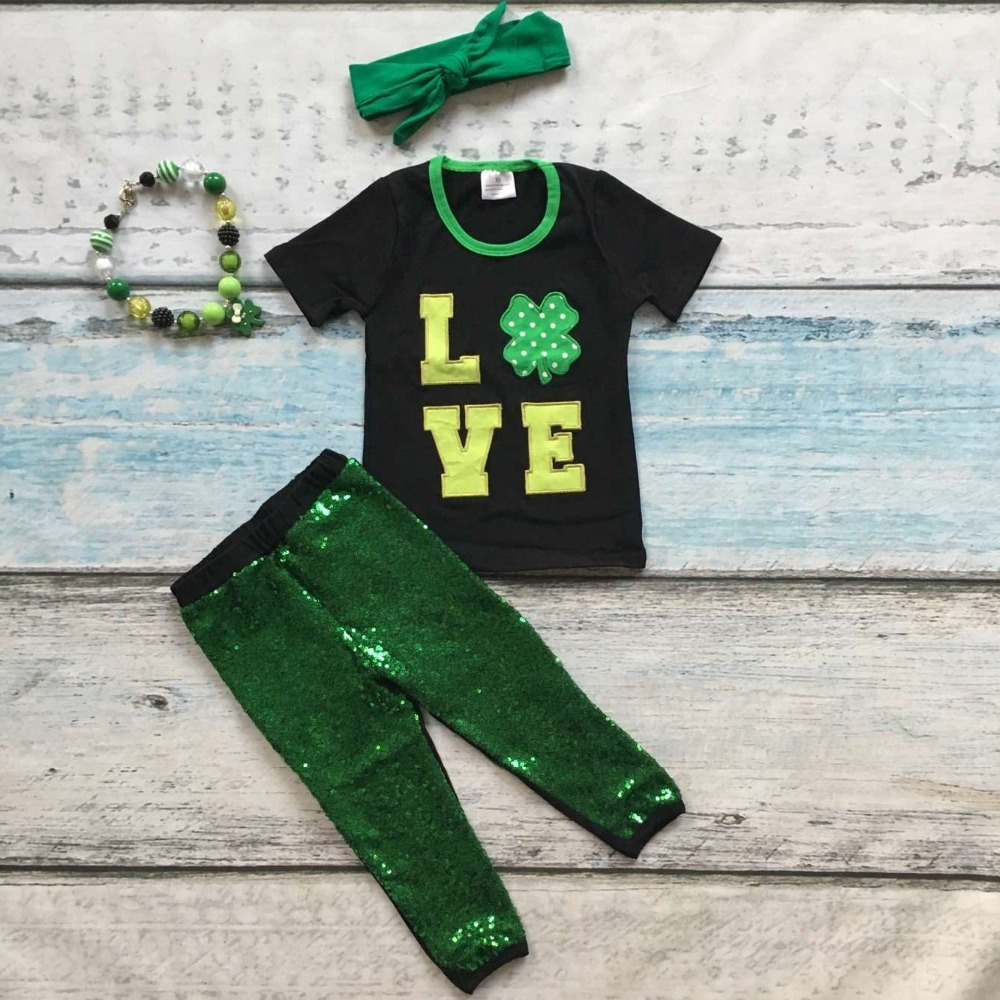baby girls St Patrick outfits girls Shamrock top green sequins pants boutique sets short sleeve clothes with the accessories green top shirt my 2nd st patrick day rainbow clover girls skirt outfit set 1 8y
