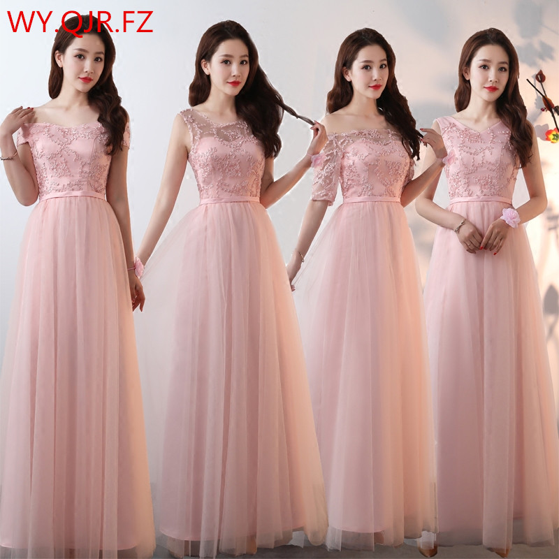 SJZL4455#Boat Neck Lace Up Pink Long Bridesmaid Dresses Wedding Party Prom Dress 2019 Spring Summer New  Wholesale Clothing