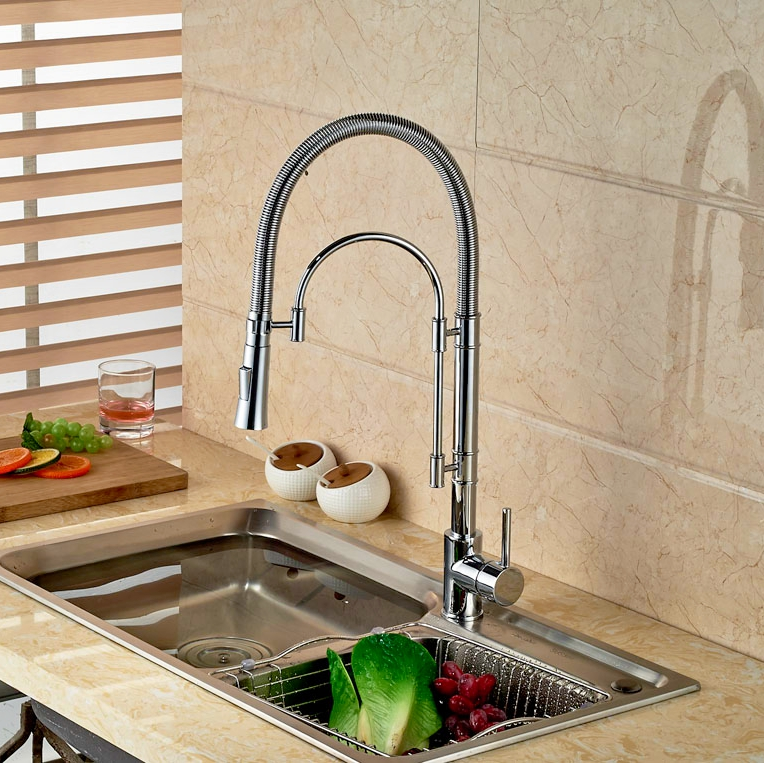 Pull Down Spout Kitchen Faucet Brass Chrome Finish Deck Mounted One Hole Mixer Faucet jomoo deck mounted brass chrome finish