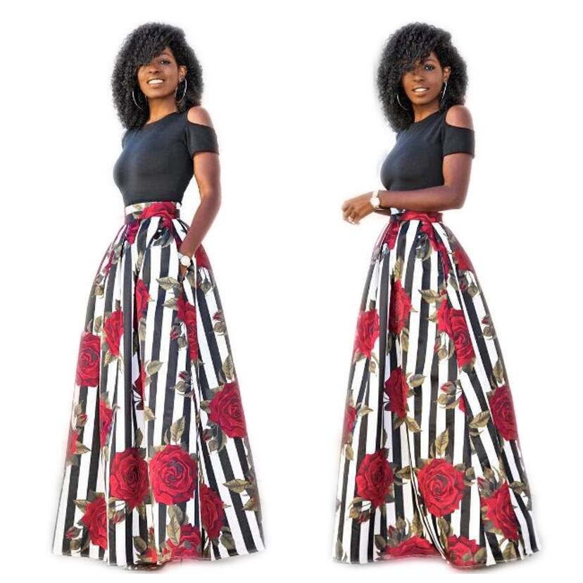87ad8d2f9a07 Fashion Ladies 2 PCs Dress Set Short Sleeve Crop Top T shirt + Long Floral  Print Flared Skirt -in Women's Sets from Women's Clothing on Aliexpress.com  ...