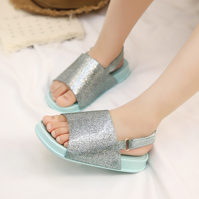 Mini Kids Jelly Shoes Summer New Boys and Girls Glitter Sequins Soft Bottom Baby Sandals and Slippers Fragrant Girls Beach Shoes in Sandals from Mother Kids