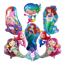 cartoon princess balloon helium foil little mermaid party supplies baloons birthday decoration inflatable balloons