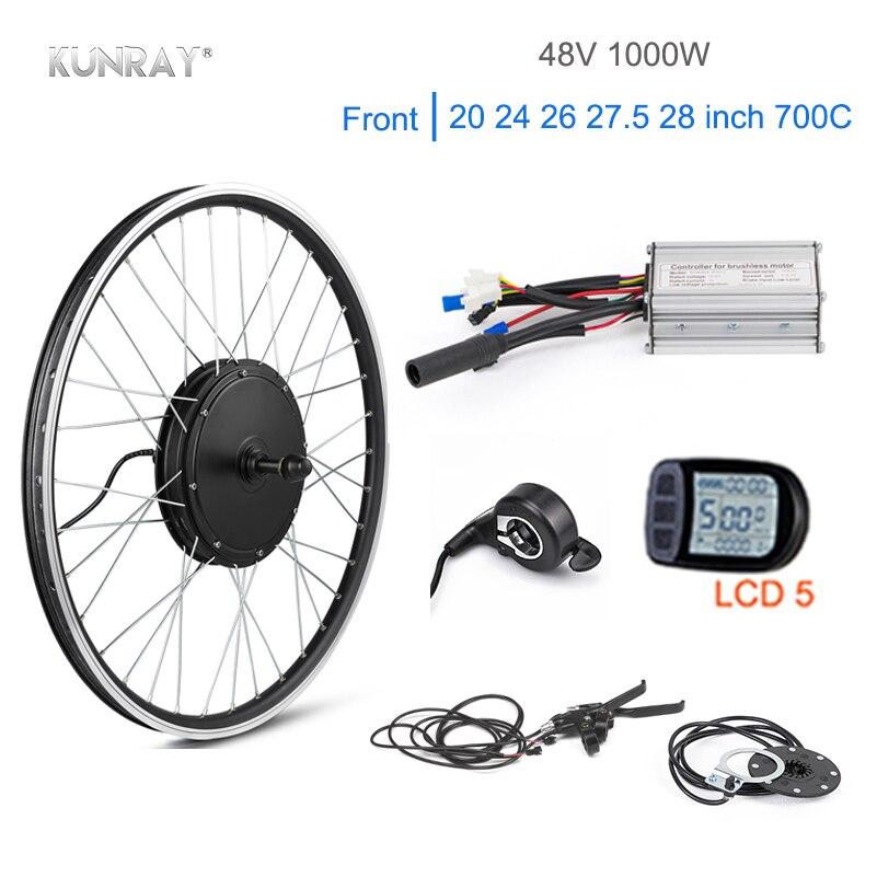 KUNRAY 1000 W moteur électrique Roue 48 V 30A kit de conversion vélo électrique Brushless non-motoréducteur KT LCD5 kit bicicleta electrica Avant 26