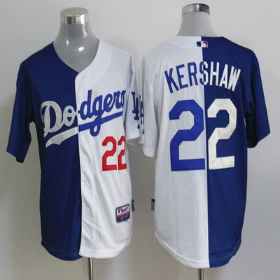 Los Angeles Dodgers Jersey  22 Clayton Kershaw  27 Matt Kemp half and half  jerseys d652b1139b7