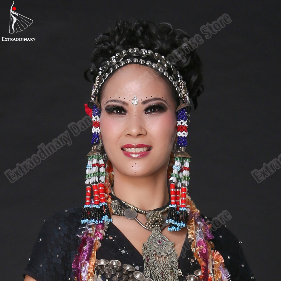 Image 2 - Belly Dance Headgear Tags Hanging Beads Tassel Tribal Accessory Hand Made Headwear Gypsy Women Stage Performance JewelryBelly Dancing   -