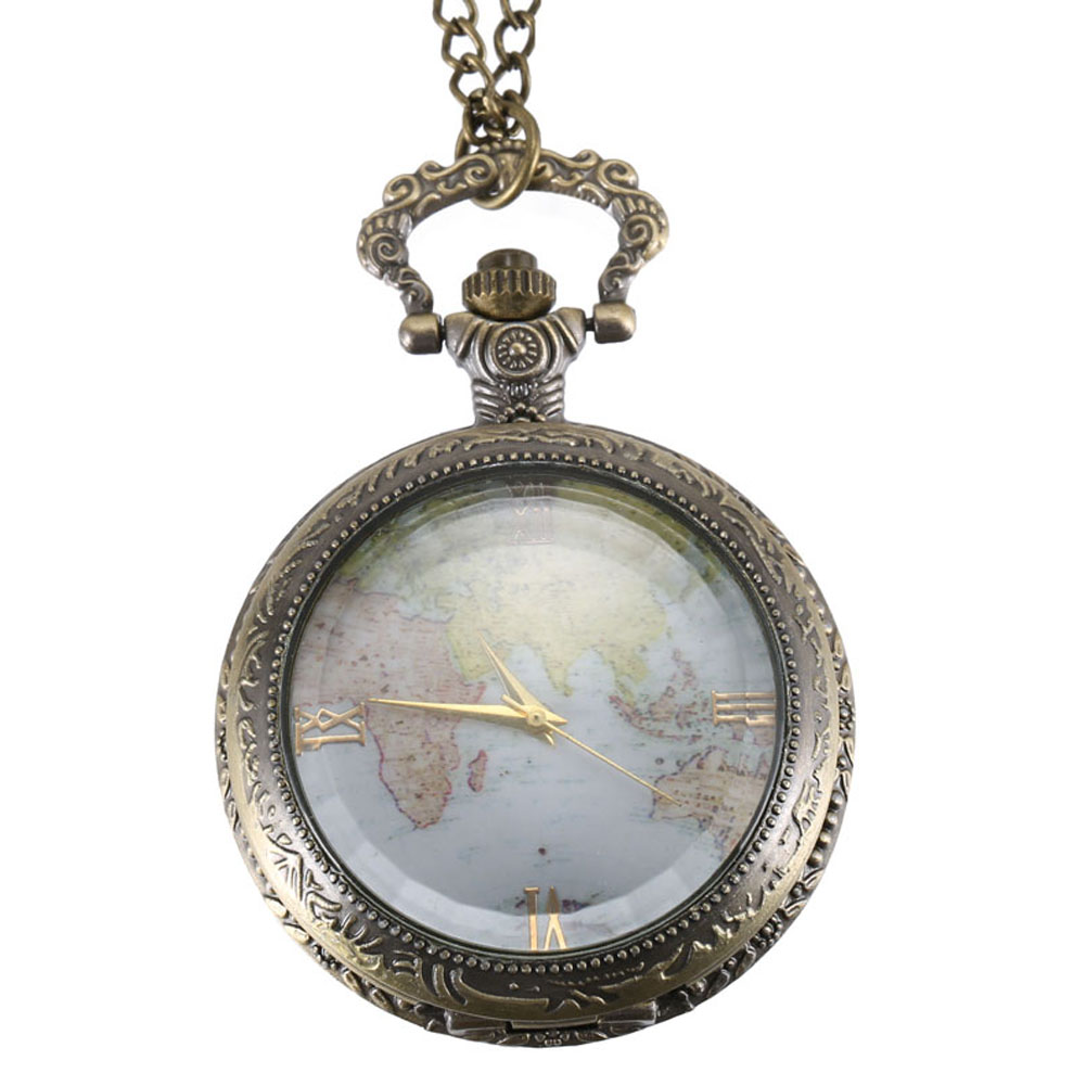 Vintage Quartz Pocket Watch World Map Roman Numeral Dial Clear Cover Alloy Chain Pendant Watches LXH
