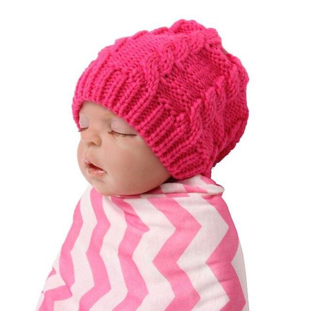 Baru lahir Bayi Perempuan Balita Bayi Laki-laki Topi Topi Rajut Wol Memutar  Topi Lembut 8d2341c14b
