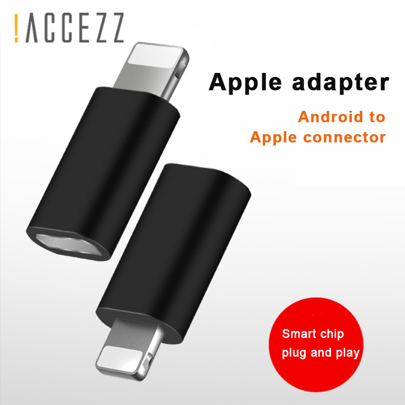 !ACCEZZ Micro USB Female For Apple Adapter OTG Converter Charging Data For Iphone 5 6 7 8 Plus XS MAX XR For Ipad Mini Adapters