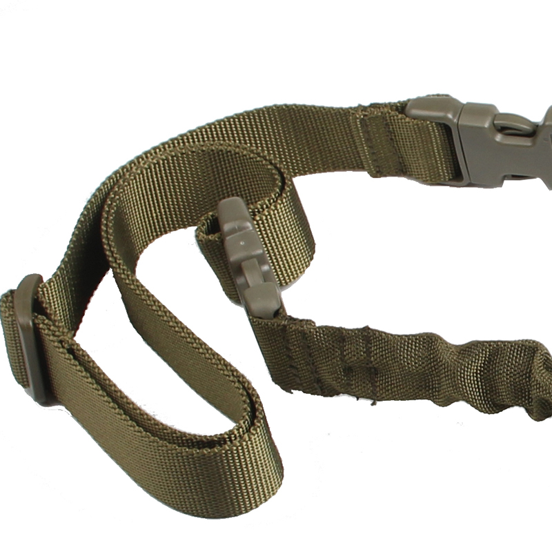 1000D-Heavy-Duty-Tactical-One-1-Single-Point-Sling-Adjustable-Bungee-Rifle-Gun-Sling-Strap-for-Airsoft-Hunting-Military RL30-0001 Green2