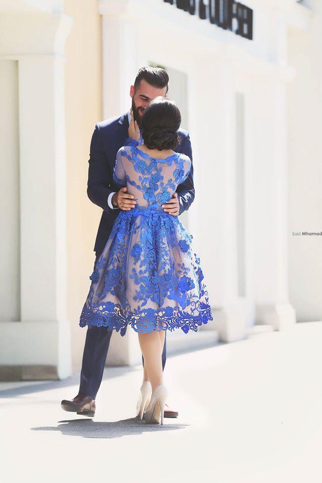 Image 3 - Royal Blue 2018 Elegant Cocktail Dresses A line Long Sleeves Appliques Lace Party Plus Size Homecoming Dresses-in Cocktail Dresses from Weddings & Events