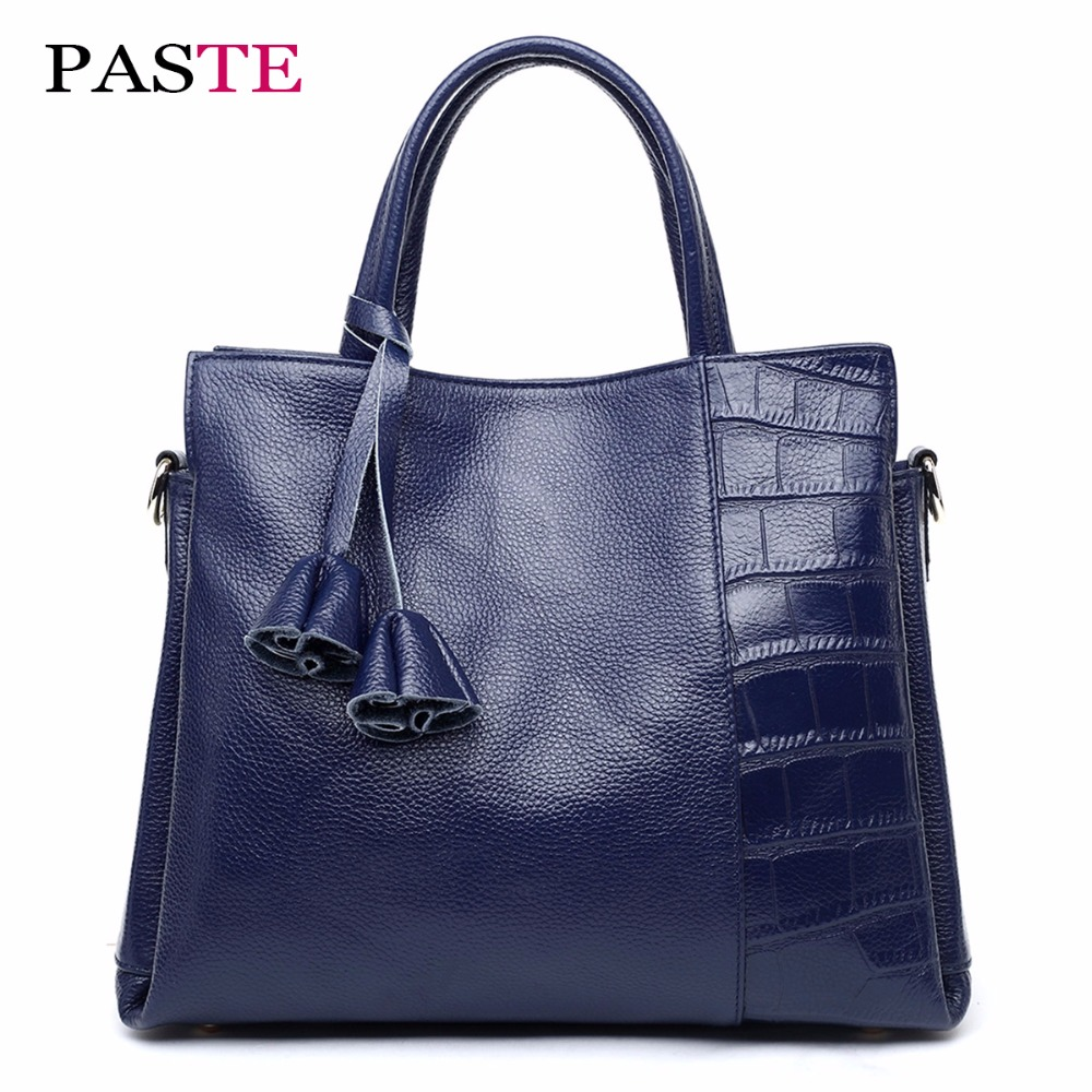 PASTE 100% Genuine Leather Fashio Alligator New Women Bag Handbags Famous Brands Luxury Designer Tassel Tote/shoulder Bags Black brand kr little red bird and green pig building blocks toys with fun for children kids birthday gift legoelieds lp19003