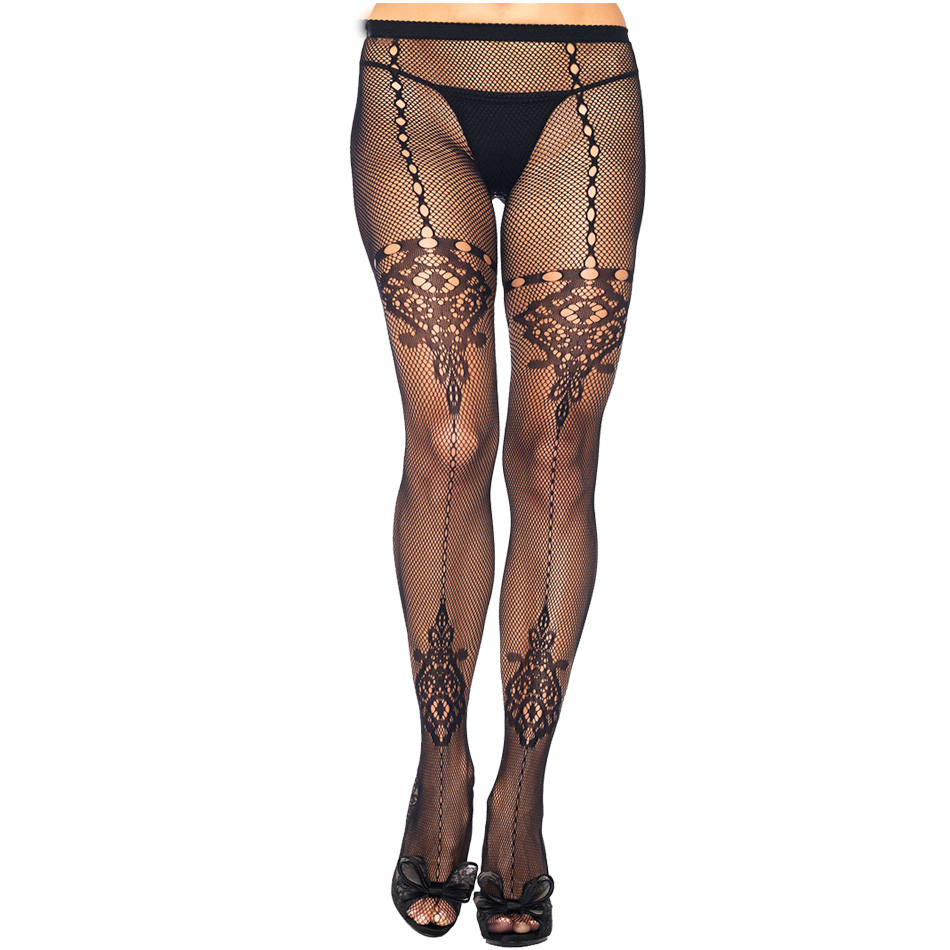 Fancy Women Tights Sexy Black Elastic Ladies Pantyhose Fishnet Flower Hollow Design High Thin Tight Christmas Sex Fantasy Gifts