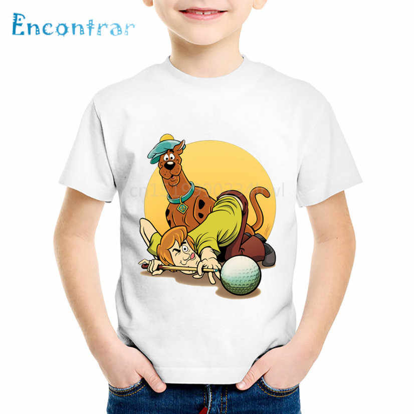 Cartoon Print Scooby Doo And Shaggy Children Funny T shirt Kids Mystery Machine Summer Tee Boys/Girls Tops Baby Clothes,HKP5086