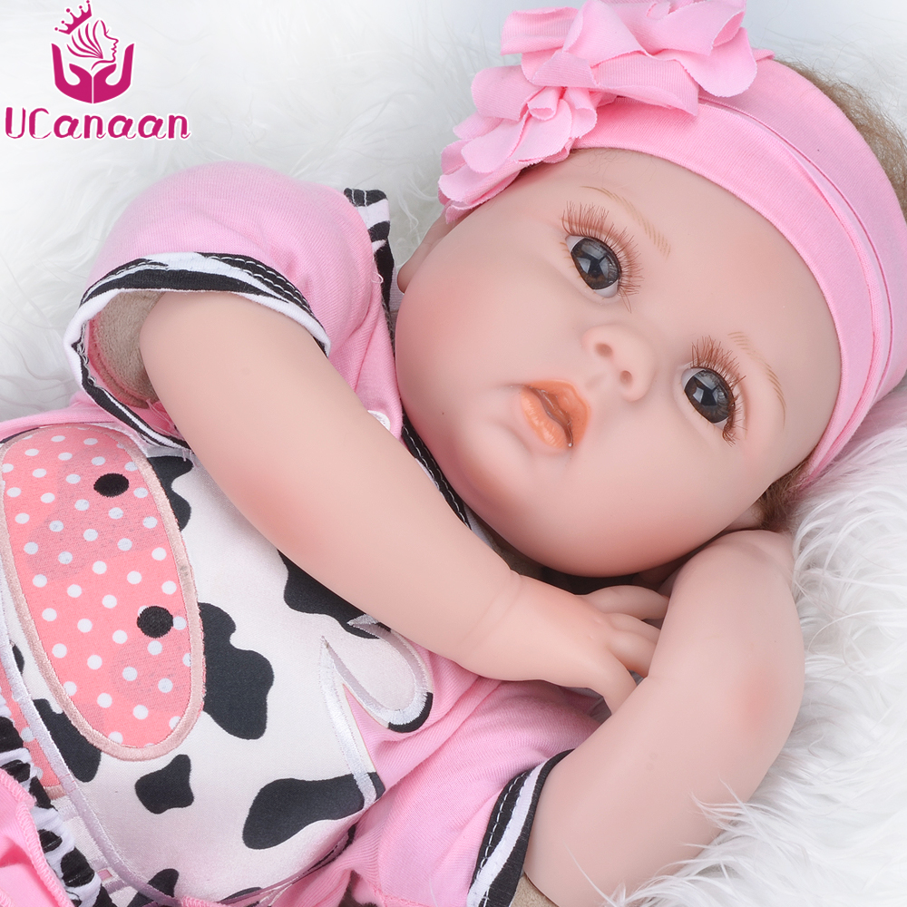 UCanaan 55CM Hair Rooted Cloth Body Reborn Doll Soft Silicone Brown Eyes Toys For Girls Baby Alive New Born Kawaii Kids Toys ucanaan 55cm soft silicone doll reborn