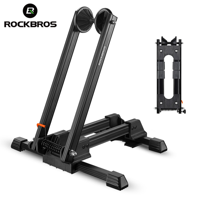 ROCKBROS Bicycle Parking Rack Aluminum Alloy Portable Double Rod Mountain Bike Maintenance Support Frame Folding Display