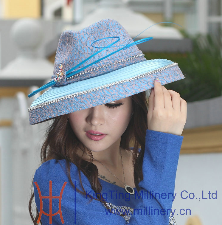 8c49de1f0ec Free Shipping Fashion Women Hat Elegant Hat Satin Dress Hat Formal Dress  Big Brim Smooth Dome Design Ladies  100% Polyester Made-in Fedoras from  Apparel ...