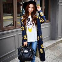 Оригинальный свитер пальто 2016 женские осенние и зимние новые корейские модные цветочные милые тонкие длинные вязаная куртка кардиган опто