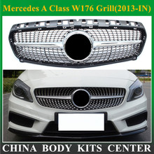 Diamond Grille For Mercedes A Class Grill W176 Glossy Black Without Emblem Badge ABS Replacement 2013 2014 2015 A180 A260 A200
