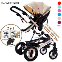 HaoYuKnight Baby Stroller High landscape Lift Can Lie Down Light Folding Baby Trolley Child Four Wheel