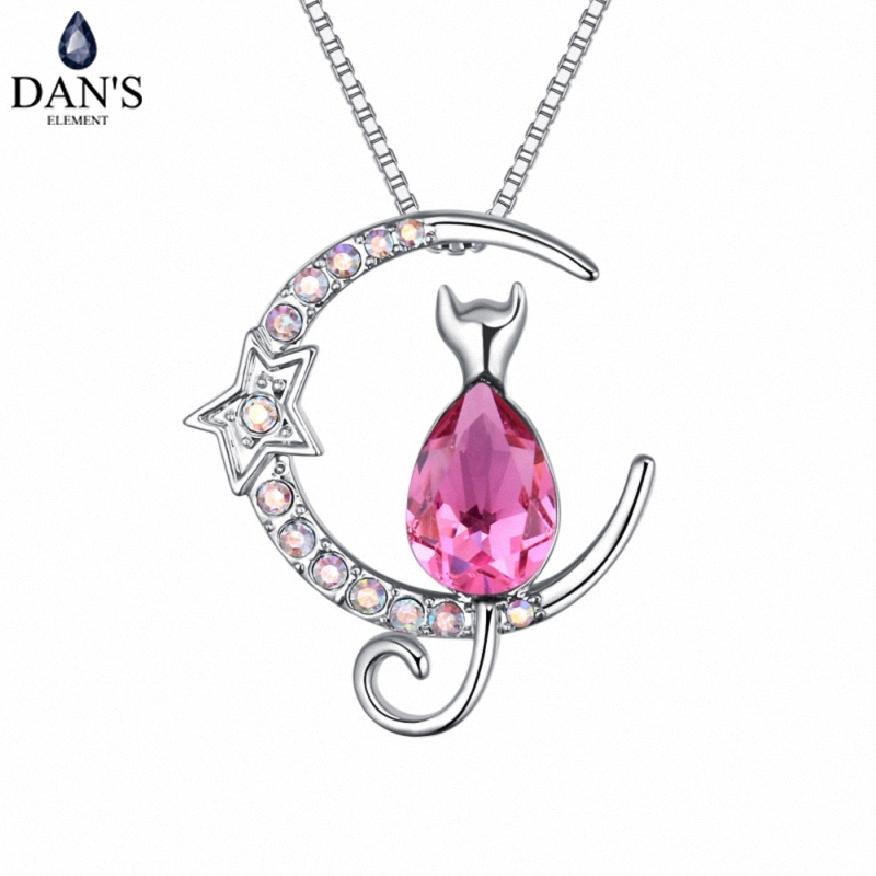DAN'S Element Brand Hot 5 Colors Real Austrian Crystals Fashion Moon With Cat Pendant Necklace for Women Valentine Gift 127251