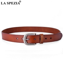 LA SPEZIA Vintage Leather Belt Women Genuine Cow Solid Brown Female Pin Buckle Real Ladies Designer Belts