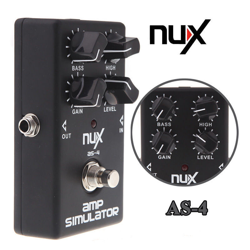 NUX AS-4 Amplifier Simulator Distortion Electric Guitar Effect Pedal True Bypass Free Shipping nux hg 6 guitar distortion 3 gain stages electric effect pedal true bypass led indicator for rock solo durable free shipping