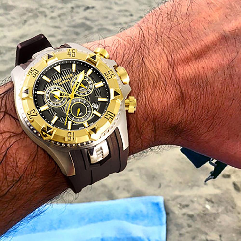 Riff Tiger/RT Männer Sport Quarz Uhren mit Chronograph und Datum Großen Zifferblatt Super Luminous Stahl Gelb Gold Stop uhr RGA303-in Quarz-Uhren aus Uhren bei  Gruppe 2