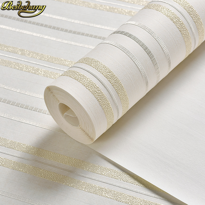 beibehang Simple modern 3D Stereo Vertical Striped Bedroom Wallpaper Living Room TV Background Wall paper papel de parede modern fashion horizontal striped wall paper roll vertical kids living room bedroom wallpaper wall world