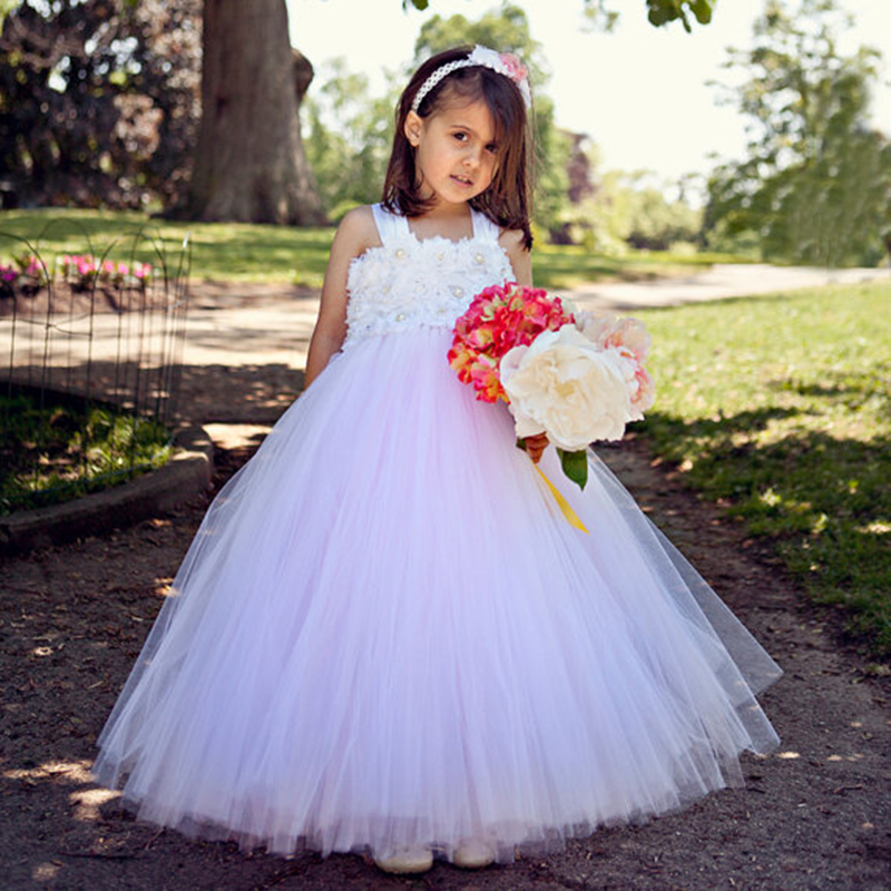 Princess Girl Dress White Pink Flower Girls Tutu Dresses for  wedding Party Pageant Birthday Kids Dresses For Girls PT230 pink white girls tutu dress princess tulle wedding bridesmaid flower girl dress for kids birthday photo party festival dresses
