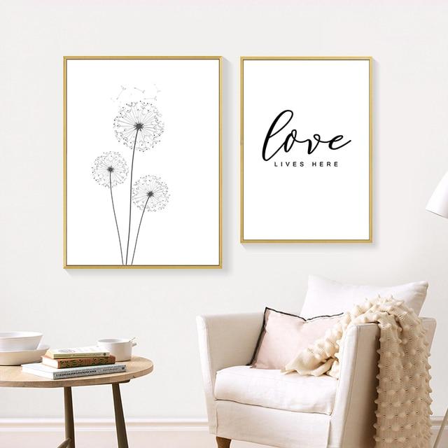 Black White Poster Dandelion Print Canvas  1