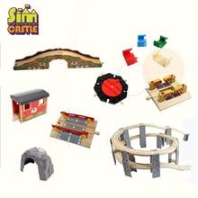 купить Wooden Train Track Beech Bridge Rail Tracks Accessories Fit for Brio Educational Boy Kids Toy Multiple Railway with Thomas Train недорого
