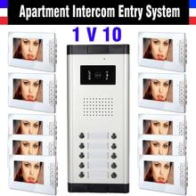 7 Inch Monitor Apartment Intercom System Video Intercom Doorbell Door Phone kit IR Night Vision Camera 1-Camera 10-Monitor
