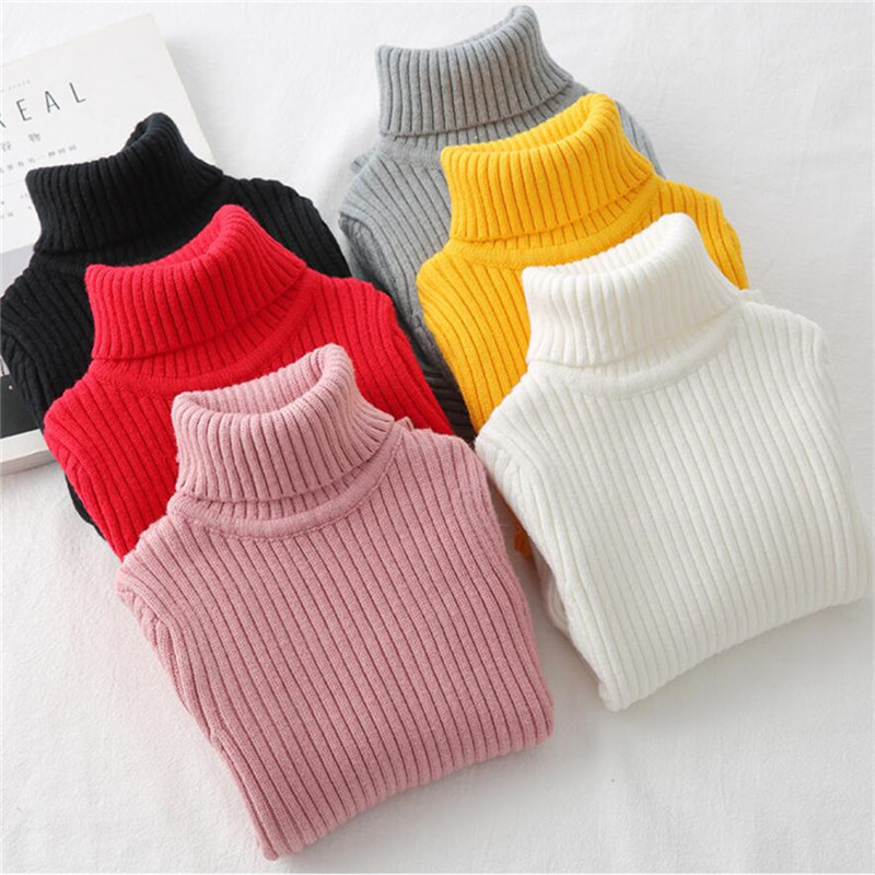 A-LING Baby Girls Boys Solid Sewing Knitted Turtleneck Warm Sweater Navy