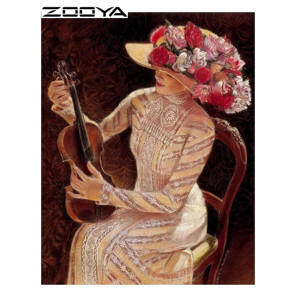 ZOOYA Diamantová malba Plná vrtačka Lady krása Diamantové - Umění, řemesla a šití
