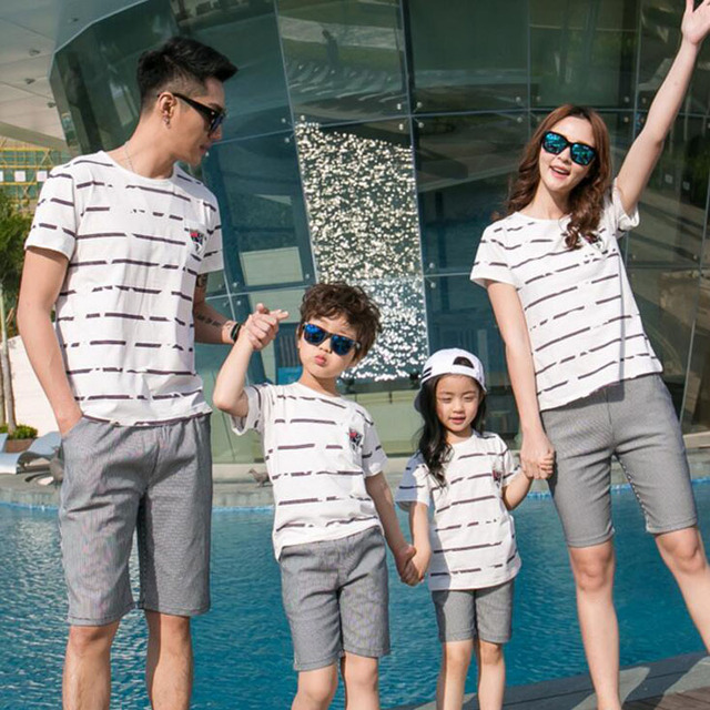 59183263645e9 Family Clothing Mother Daughter clothes set Family Matching Clothes Father  and Son T shirt and short pants Family Clothes Set
