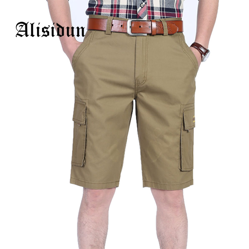 2018 New Casual Men Pure Cotton Shorts Solid Male Cargo Short Pants Mens knee length Trousers Plus Size 30-44 Free Shipping 8M12