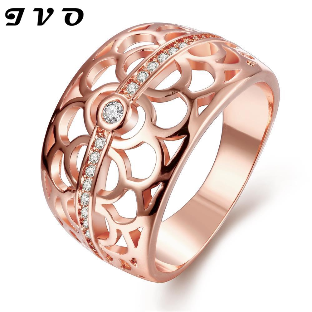 Gold Rings For Women 24k Plated Zircon Ring Wedding Jewelry Couple Rings  Rose Gold Crystal Wholesale