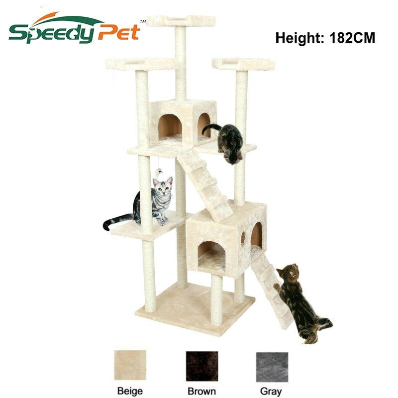 Entrega doméstica H182cm Mobiliário Gato Árvore Condomínio Torre Pós Arranhadura Do Gato Pulando Brinquedo com Escada para Gatos Pet Casa de Jogo