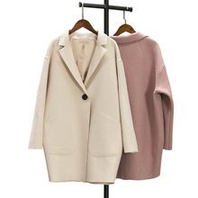 2018 Autumn Winter Fashion Women Wool Coat Loose Imitation Cashmere Female OL Style Single Button Turn-down Collar Overcoat O242