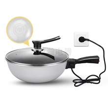 Electric Wok Home Multi-function Electric Frying Pan Electric Skillet Smokeless Non-stick Cooker Thickened Electric Hot Pot 220v mini electric frying pot multifunctional non stick electric hot pot multi cooker cooking machine eu au uk us plug