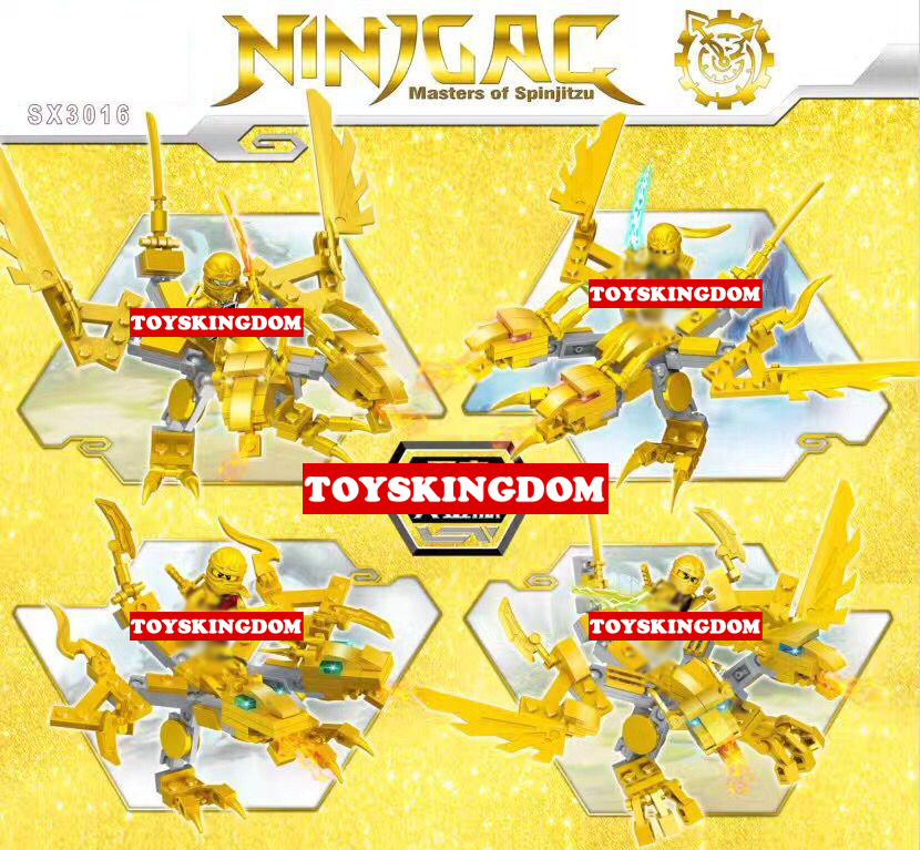 Hot golden ninja double head dragon knights go building block kai zane cole Jay figures  ...
